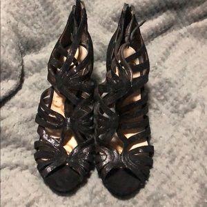 Black metallic sandal heels *make and offer*